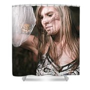 Woman With Butterfly In Net Shower Curtain