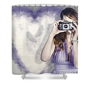 Woman With Camera. Love In A Still Frame Capture Shower Curtain