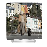 Woman With Her Dog Shower Curtain