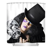Woman With Mask Shower Curtain