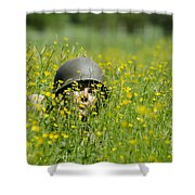 Woman With Military Helmet Shower Curtain