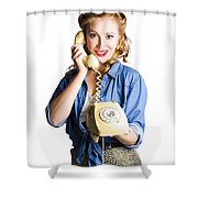 Woman With Retro Telephone Shower Curtain