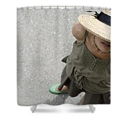 Woman With Straw Hat Shower Curtain