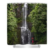 Woman With Umbrella At Wailua Falls Shower Curtain
