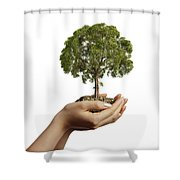 Womans Hands Holding Soil With A Tree Shower Curtain