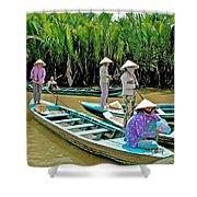 Women Waiting For Passengers On Mekong River Canal-vietnam Shower Curtain
