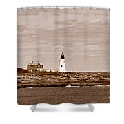 Wood Island Lighthouse Shower Curtain