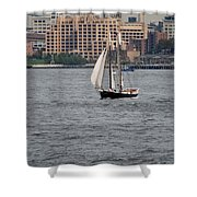 Wooden Ship On The Water Shower Curtain