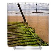 Wooden Slipway Rhos On Sea Shower Curtain