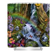 Woodland Forest Fairyland Shower Curtain by Alixandra Mullins