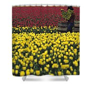 Worker Carrying Tulips Shower Curtain