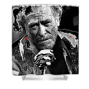 Writer Charles Bukowski On Tv Show Apostrophes In September 1978-2013 Shower Curtain