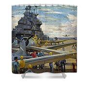 Wwii: Aircraft Carrier Shower Curtain