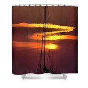 Yacht At Sunset Shower Curtain