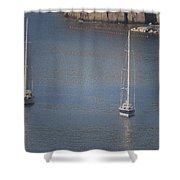 Abstract Yachts At Rest Sorrento Shower Curtain