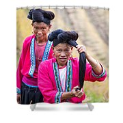 Yao Ethnic Minority Women On Rice Terrace Guilin China Shower Curtain