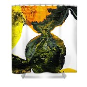 Yellow And Gray Interactions 8 Shower Curtain by Amy Vangsgard