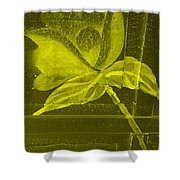 Yellow Negative Wood Flower Shower Curtain