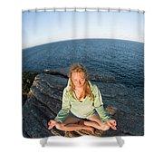 Yoga On Rocky Outcrop Above Ocean Shower Curtain