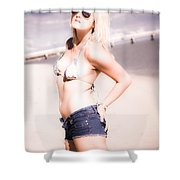 Young Attractive Travel Woman At Beach Shower Curtain