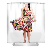 Young Beautiful Dancer Posing On White Background Shower Curtain