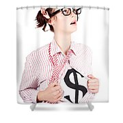 Young Businesswoman Super Hero Showing Dollar Sign Shower Curtain