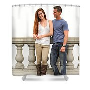 Young Couple Bridge Shower Curtain