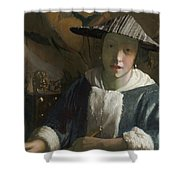 Young Girl With A Flute Shower Curtain