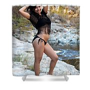 Young Hispanic Woman Shower Curtain