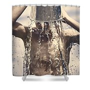 Young Man Having Fun On A Tropical Summer Holiday Shower Curtain