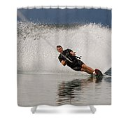 Young Man Waterskiing On Lake Koocanusa Shower Curtain