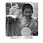 Young Monks Bw Shower Curtain