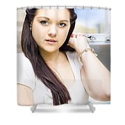Young Pretty Business Travel Woman With Luggage Shower Curtain