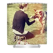 Young Woman In 20s Playing Fetch With Her Dog Shower Curtain