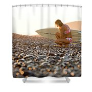 Young Woman Walking On Beach Shower Curtain