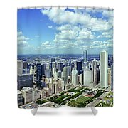 Aerial View Of A City, Chicago, Cook Shower Curtain