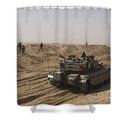 An Israel Defense Force Merkava Mark II Shower Curtain