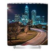 Charlotte City Skyline Night Scene Shower Curtain