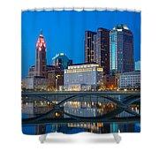 Fx2l-516 Columbus Ohio Night Skyline Photo Shower Curtain