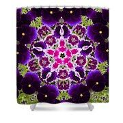 Flower Kaleidoscope Resembling A Mandala Shower Curtain