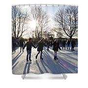 Ice Skating At Hampton Court Palace Ice Rink England Uk Shower Curtain