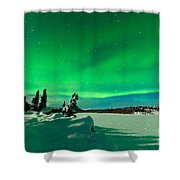 Intense Display Of Northern Lights Aurora Borealis Shower Curtain