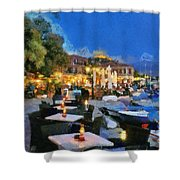 Molyvos Town In Lesvos Island Shower Curtain