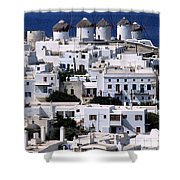 Mykonos Town Shower Curtain