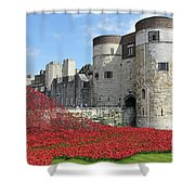 Remembrance Poppies At The Tower Of London Shower Curtain