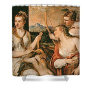 Venus Blindfolding Cupid Shower Curtain