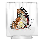 102 Perched White Lady Butterfly Shower Curtain by Amy Kirkpatrick