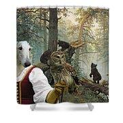 Borzoi - Russian Wolfhound Art Canvas Print Shower Curtain