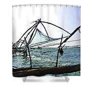 Fishing Nets On The Sea Coast In Alleppey Shower Curtain