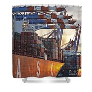 Hamburg Harbor Container Terminal Shower Curtain